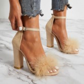 Chunky Heel Buckle Open Toe Feather Women's Sandals