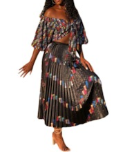 Pleated Skirt Office Lady Pleated Women's Two Piece Sets