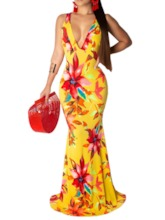 Sleeveless V-Neck Backless Floral Prints Women's Maxi Dress