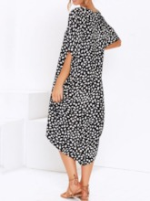 Short Sleeve Asymmetric Round Neck Batwing Sleeve Women's Maxi Dress