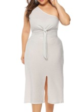 Plus Size Pleated Mid-Calf Sleeveless Oblique Collar One-Shoulder Women's Dress