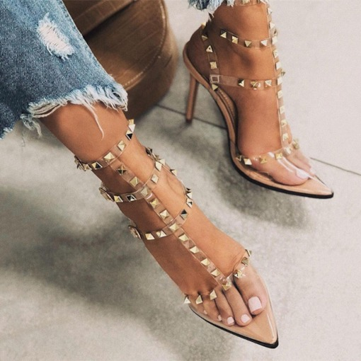 Closed Toe Stiletto Heel Buckle Casual Women's Sandals