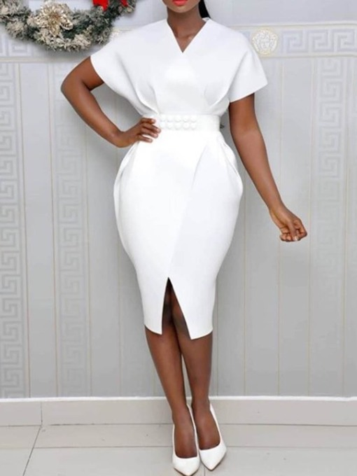 Mid-Calf V-Neck Short Sleeve Split Bodycon Women's Bodycon Dress