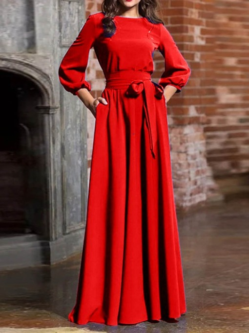 Lantern Sleeve High Waist Round Neck Maxi Dress