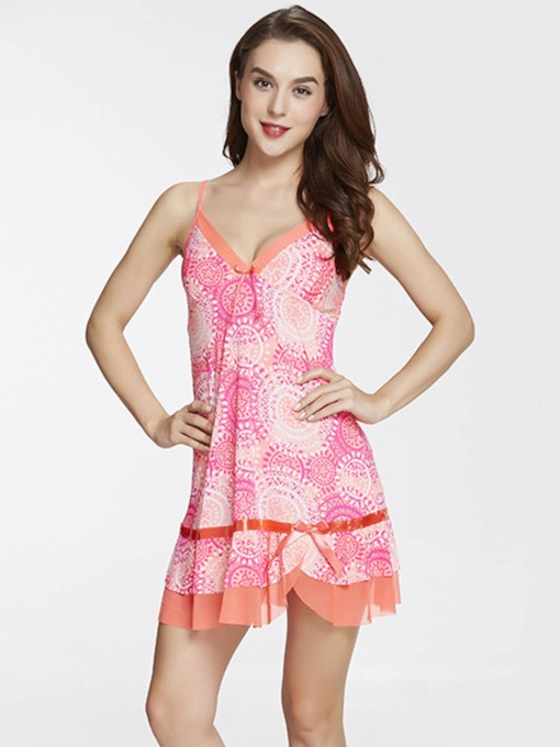 Print Single Sleeveless Women's Nightgown