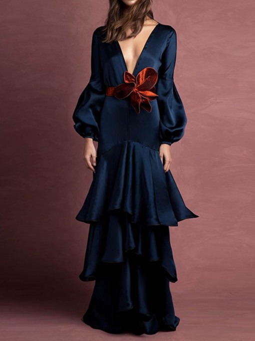 Long Sleeve V-Neck Floor-Length Lantern Sleeve Women's Maxi Dress
