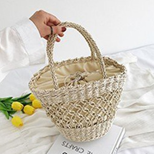 Hollow Out Grass Knitted Tote Bag