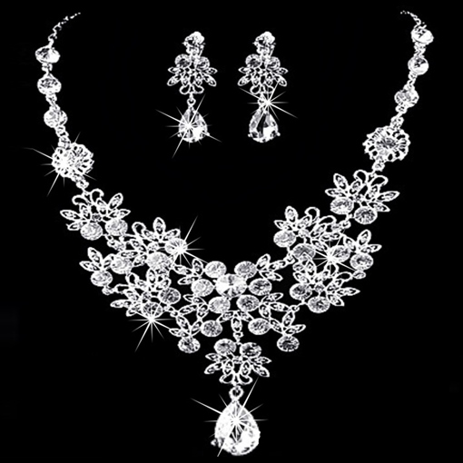Korean Crystal Inlaid Floral Jewelry Sets (Wedding)