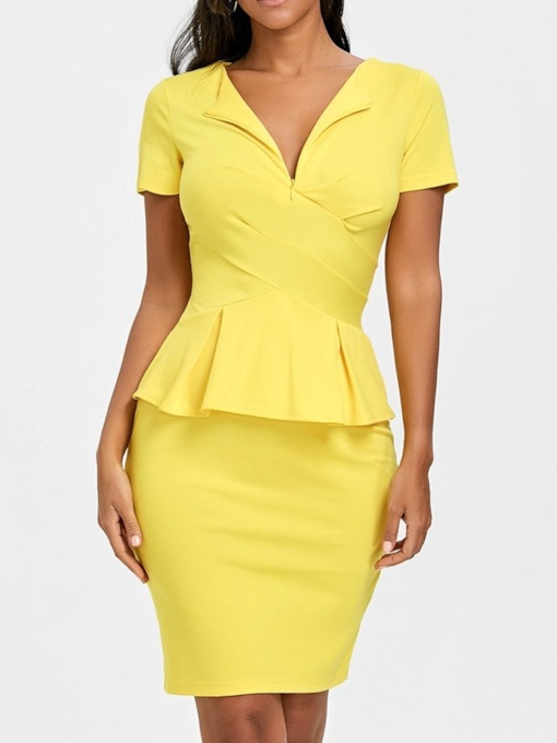 Round Neck Short Sleeve Women's Sheath Dress