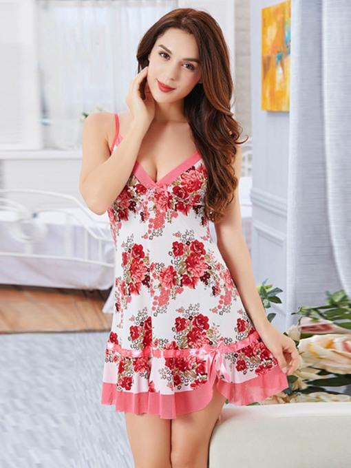 Floral Single Bowknot V-Neck Women's Nightgown