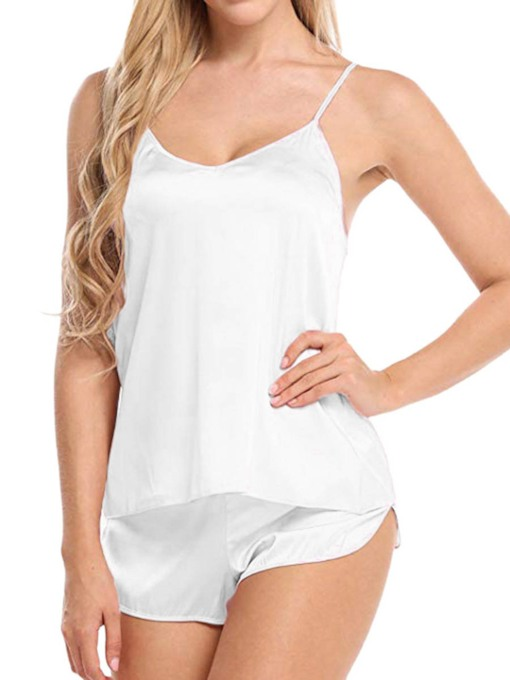 Charmeuse Plain Sexy Split Women's Sleepwear 2 Pieces