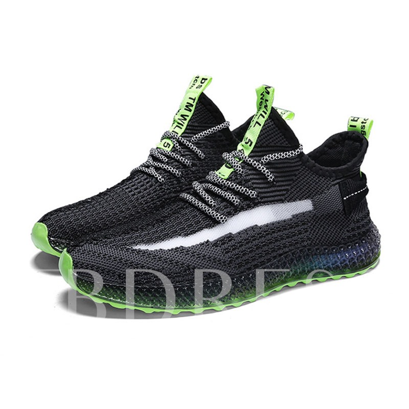 Lace-Up Round Toe Mesh Chic Men's Sneakers