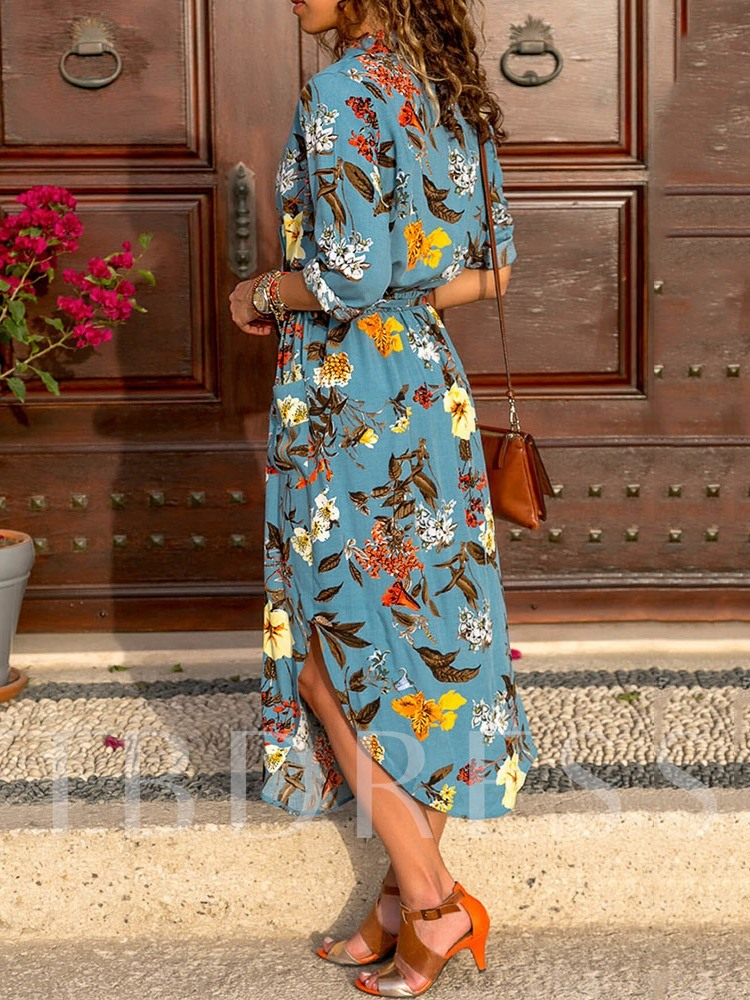 Asymmetric Notched Lapel Mid-Calf Three-Quarter Sleeve Women's Maxi Dress