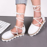 Cross Strap Round Toe Lace-Up Mid-Heel Casual Women's Sandals