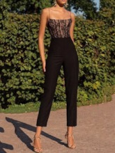 Plain Office Lady Ankle Length See-Through Mid Waist Women's Jumpsuit