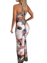 Floor-Length V-Neck Print Sleeveless Pullover Women's Maxi Dress