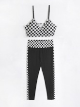 Women's Quick Dry Plaid Sleeveless Pullover Workout Set