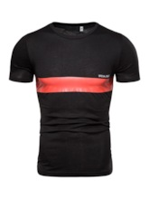 Color Block Striped Casual Print Round Neck Slim Fit Bodybuilding Men's T-shirt