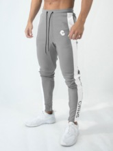 Print Cotton Letter Zipper Men's Sports Pants