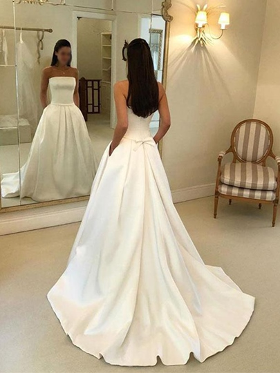 Strapless Court Train Pockets Wedding Dress 2019 Strapless Court Train Pockets Wedding Dress 2019