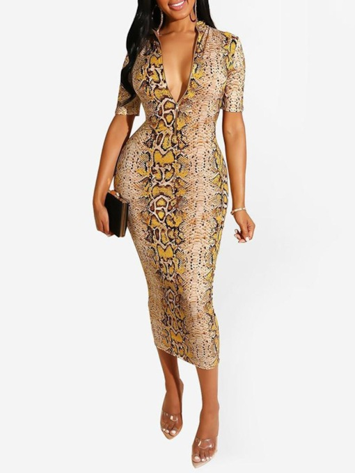 Print Short Sleeve Stand Collar Serpentine Women's Maxi Dress