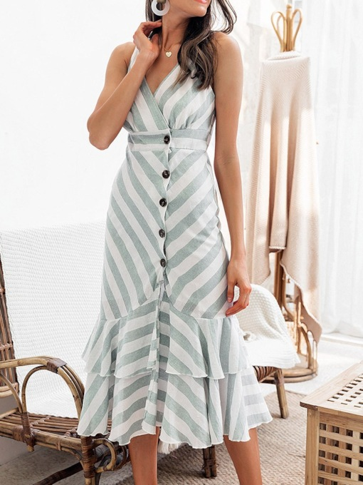 Mid-Calf Pleated Sleeveless V-Neck Summer Women's Day Dress