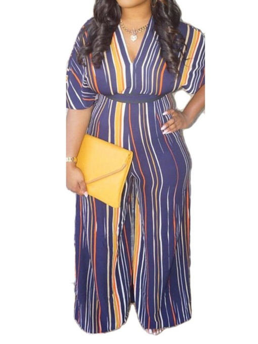 Plus Size Color Block Full Length Office Lady Women's Jumpsuit