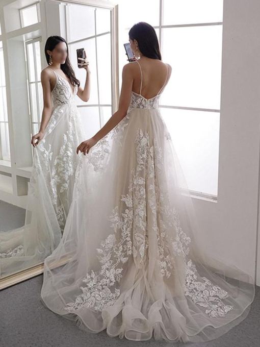 Deep V Neck Appliques Hall Wedding Dress 2019