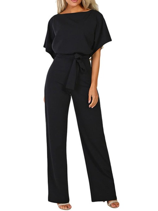 Loose Full Length Western Plain Women's Jumpsuit