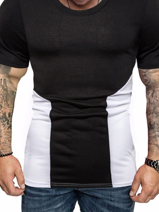 Black/White Color Block Round Neck Casual Short Sleeve Slim Fit Men's T-shirt