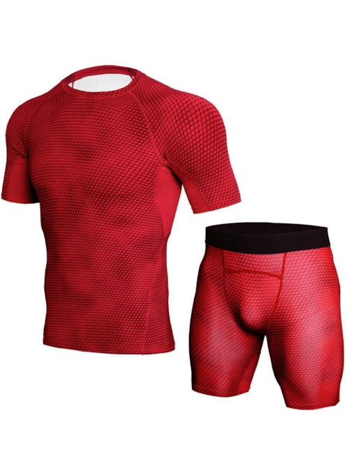Men's Breathable Short Sleeve Shorts Workout Suit