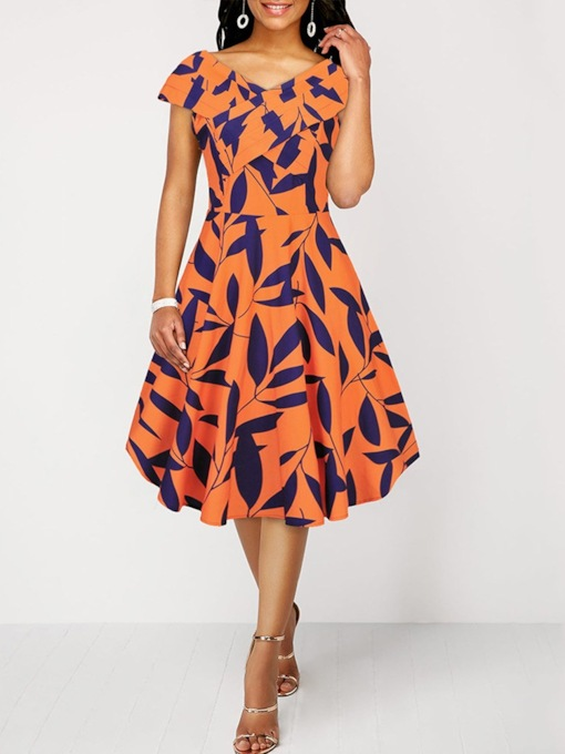 Print Cap Sleeve Mid-Calf V-Neck Mid Waist Women's Day Dress