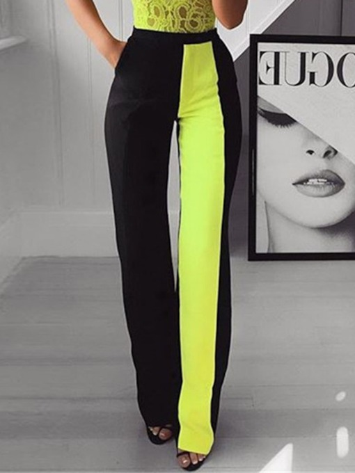 Slim Color Block Full Length Women's Casual Pants