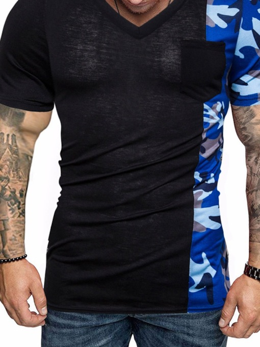 Black/White Print Camouflage V-Neck Color Block Casual Slim Men's T-shirt