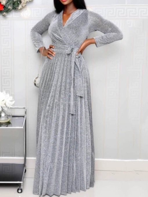 Long Sleeve Floor-Length V-Neck Pleated Plain Women's Maxi Dress
