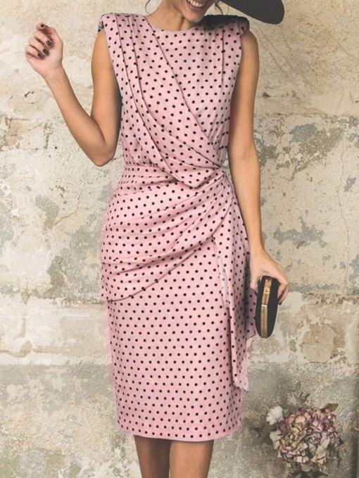 Sleeveless Pleated Round Neck Mid-Calf Polka Dots Women's Sheath Dress