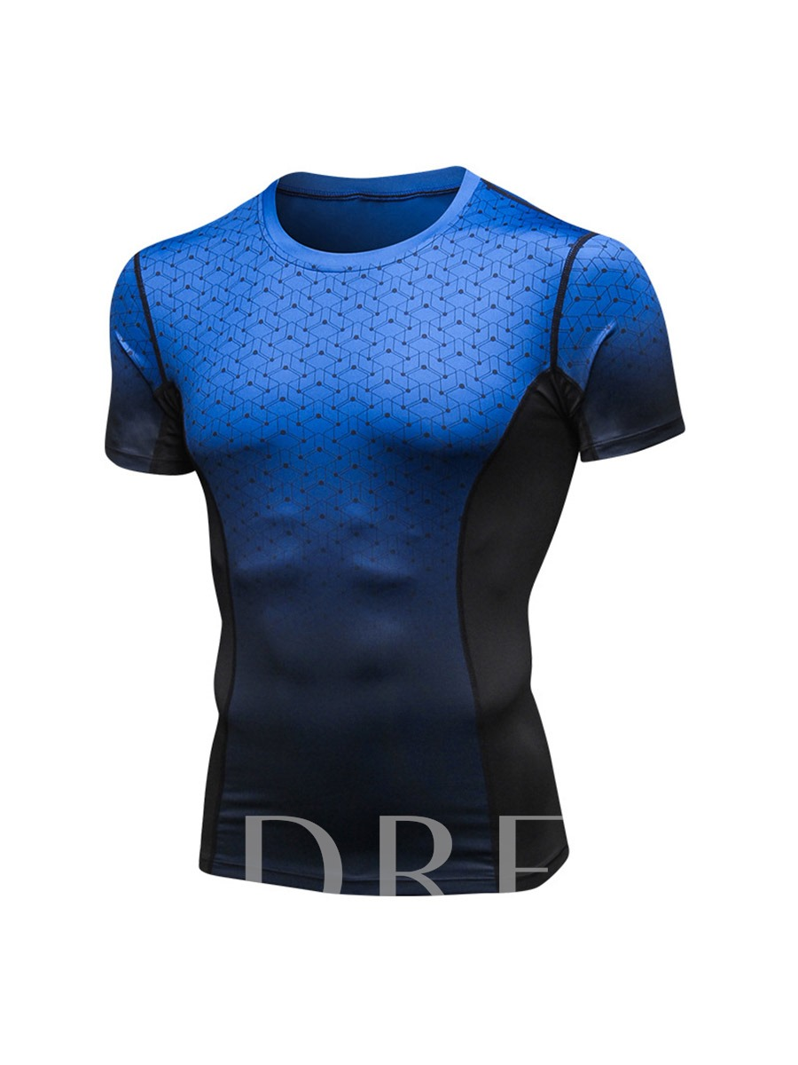 Men's Color Block Stretch Sports Quick Dry T-shirt