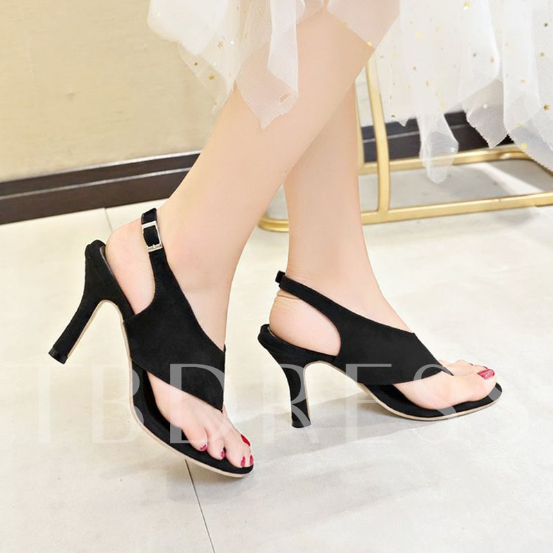 Slingback Strap Thong Buckle Plain Women's Sandals