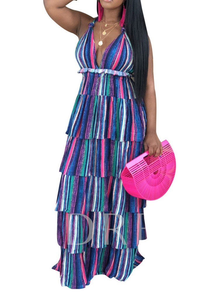 Lace-Up V-Neck Sleeveless Pullover Women's Maxi Dress
