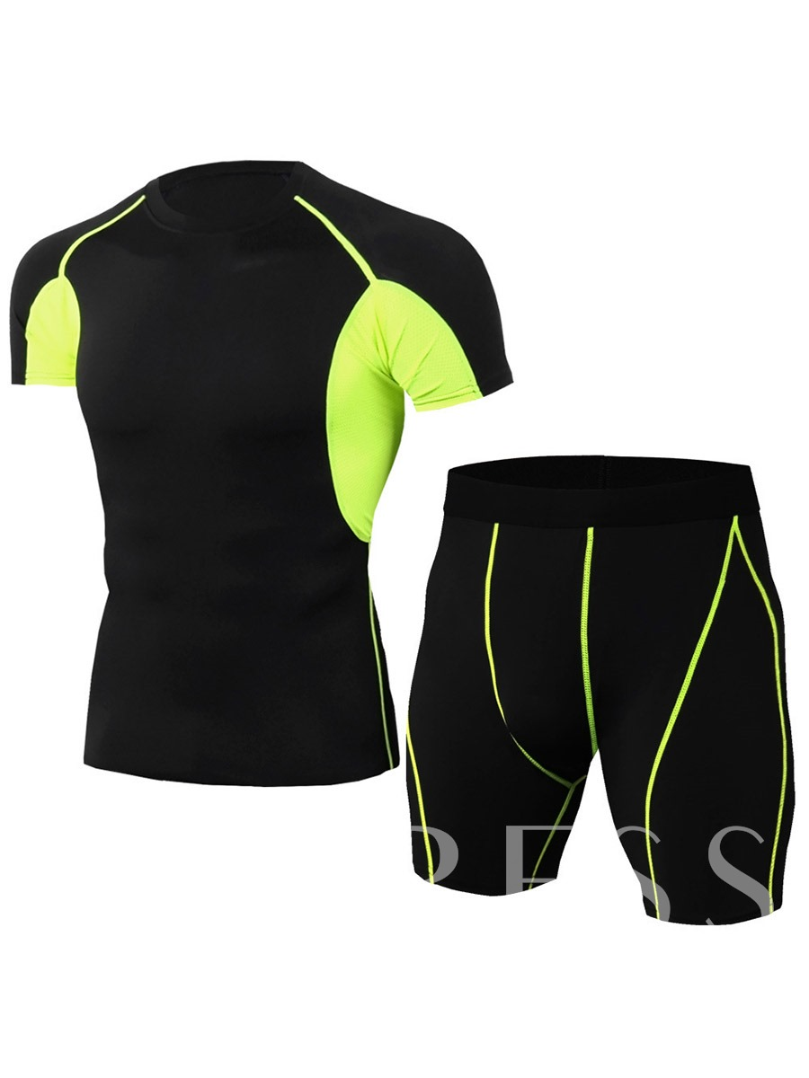 Men's Color Block Shorts Sports Sets