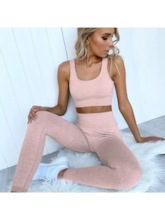 Women's Solid Sleeveless Pullover Yoga Workout Set