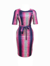 Round Neck Print Short Sleeve Mid-Calf Women's Maxi Dress