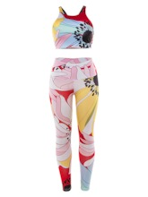 Women's Floral Print Sleeveless Pullover Sports Outfits