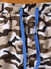Thin Print Camouflage Straight Shorts Lace-Up Men's Casual Pants