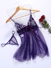 Plain Backless See-Through Sleeveless Lace Babydoll