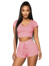 Women's With Hood Pullover Shorts Sports Set