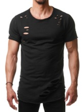 Casual Fashion Hole Round Neck Plain Short Sleeve Men's T-shirt