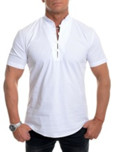 Casual Button Stand Collar Plain Summer Men's Shirt