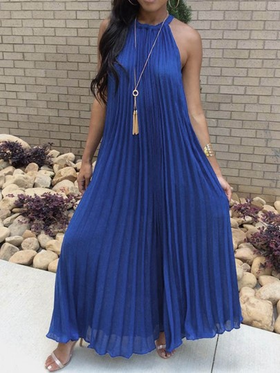 African Fashion Pleated Sleeveless Pleated Halter Womens Maxi Dress African Fashion Pleated Sleeveless Pleated Halter Women's Maxi Dress