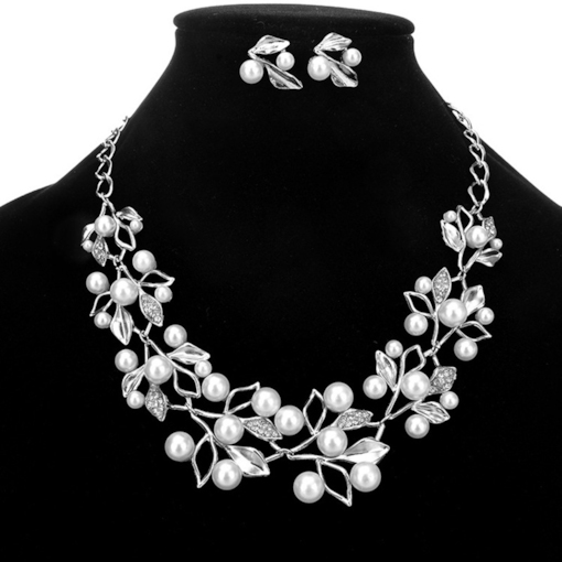 Floral Necklace Pearl Inlaid Wedding Jewelry Sets